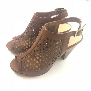 CL by Laundry Brown Open Toe Bootie Caged Sandals
